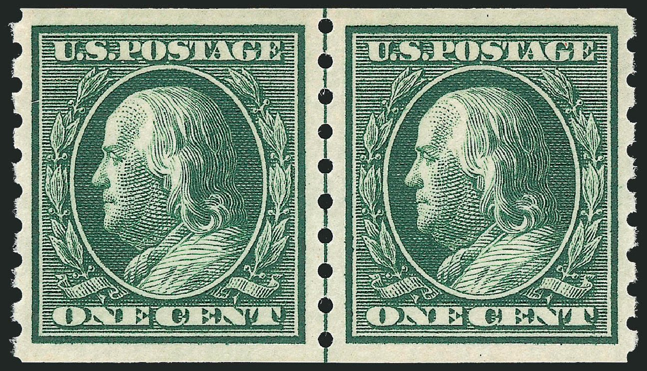 Price of US Stamp Scott Catalogue 392: 1c 1910 Franklin Coil. Robert Siegel Auction Galleries, Dec 2013, Sale 1062, Lot 574