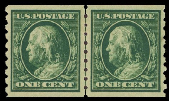 Price of US Stamp Scott Cat. # 392: 1910 1c Franklin Coil. Daniel Kelleher Auctions, Oct 2012, Sale 632, Lot 1305