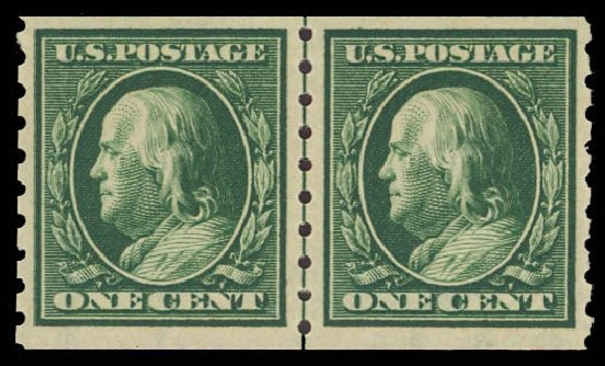 US Stamp Value Scott Cat. 392: 1910 1c Franklin Coil. Daniel Kelleher Auctions, Sep 2013, Sale 639, Lot 3495