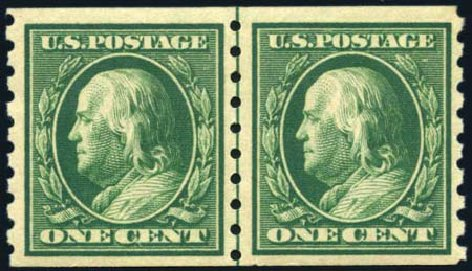 Values of US Stamps Scott # 392: 1c 1910 Franklin Coil. Harmer-Schau Auction Galleries, Feb 2010, Sale 84, Lot 1562