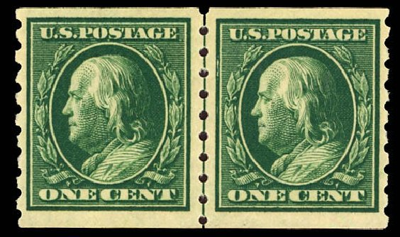 Costs of US Stamps Scott Catalog 392 - 1910 1c Franklin Coil. Daniel Kelleher Auctions, Dec 2012, Sale 633, Lot 672