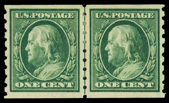 Value of US Stamp Scott Catalog 392 - 1910 1c Franklin Coil. Daniel Kelleher Auctions, Mar 2014, Sale 648, Lot 2153