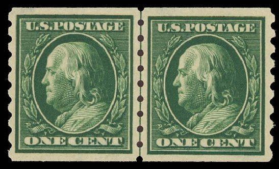 Prices of US Stamps Scott Cat. # 392: 1c 1910 Franklin Coil. Daniel Kelleher Auctions, Aug 2012, Sale 631, Lot 1166