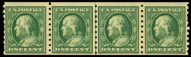 Prices of US Stamp Scott Cat. 392: 1c 1910 Franklin Coil. Daniel Kelleher Auctions, May 2014, Sale 652, Lot 586