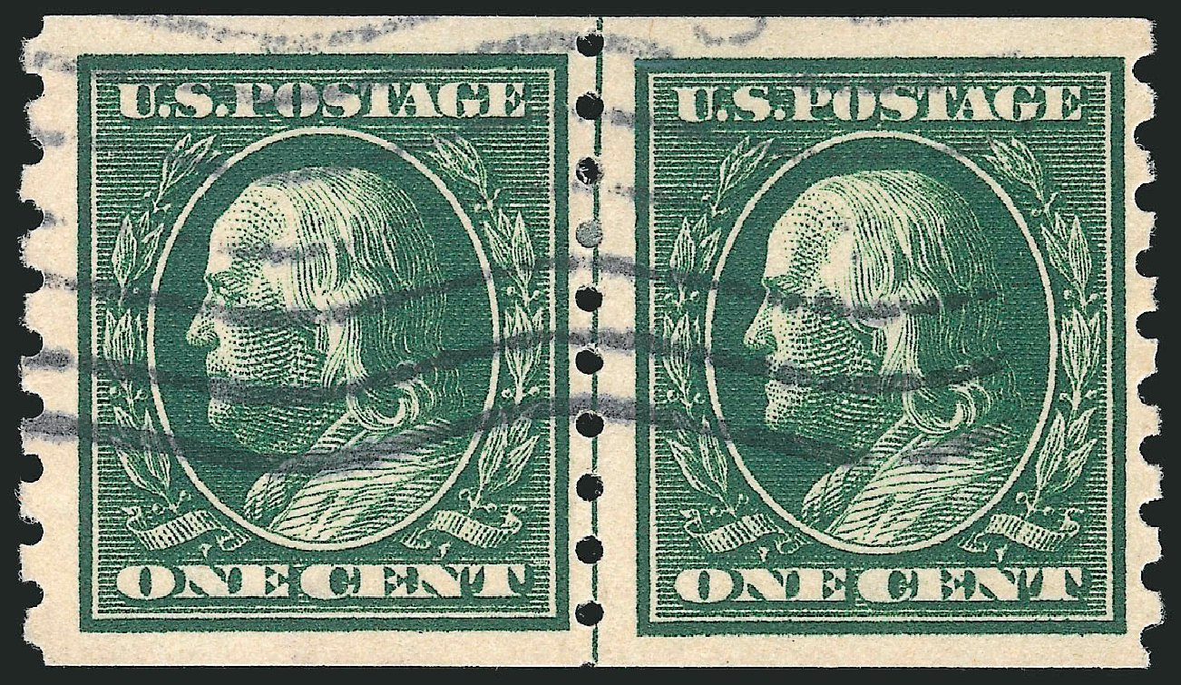 Values of US Stamp Scott Cat. 392 - 1910 1c Franklin Coil. Robert Siegel Auction Galleries, Apr 2015, Sale 1096, Lot 636