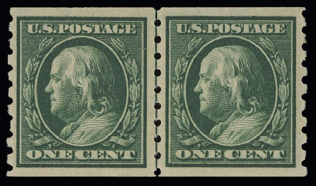 US Stamp Values Scott #392 - 1c 1910 Franklin Coil. Spink Shreves Galleries, Aug 2013, Sale 144, Lot 226