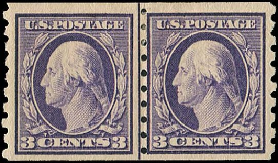 Values of US Stamps Scott #394 - 3c 1911 Washington Coil. Regency-Superior, Aug 2015, Sale 112, Lot 787