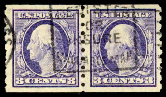 US Stamp Values Scott Cat. #394: 3c 1911 Washington Coil. Daniel Kelleher Auctions, Aug 2015, Sale 672, Lot 2699