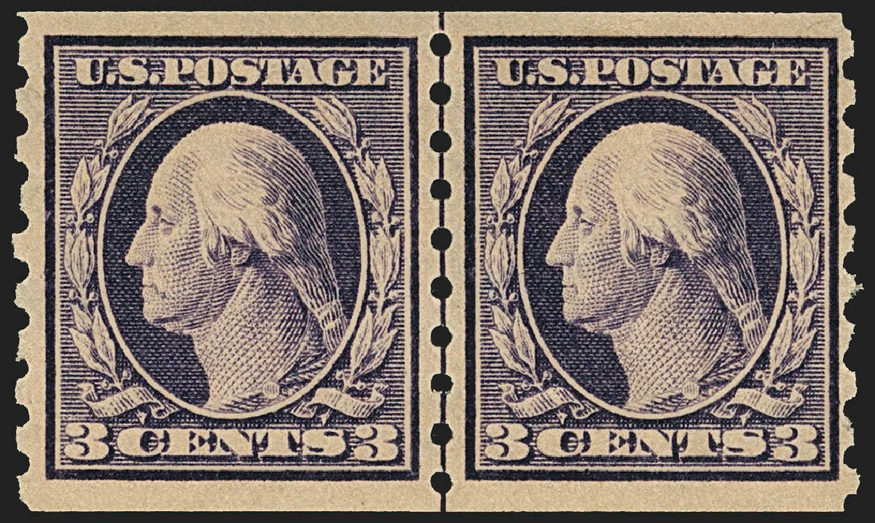 Values of US Stamps Scott Catalogue #394: 3c 1911 Washington Coil. Robert Siegel Auction Galleries, Jul 2015, Sale 1107, Lot 450