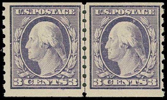 Values of US Stamp Scott Catalog #394 - 3c 1911 Washington Coil. H.R. Harmer, Jun 2015, Sale 3007, Lot 3321