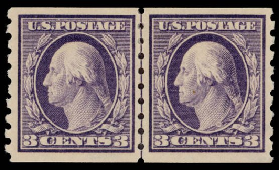 Values of US Stamps Scott Cat. 394: 3c 1911 Washington Coil. Daniel Kelleher Auctions, May 2015, Sale 669, Lot 2954