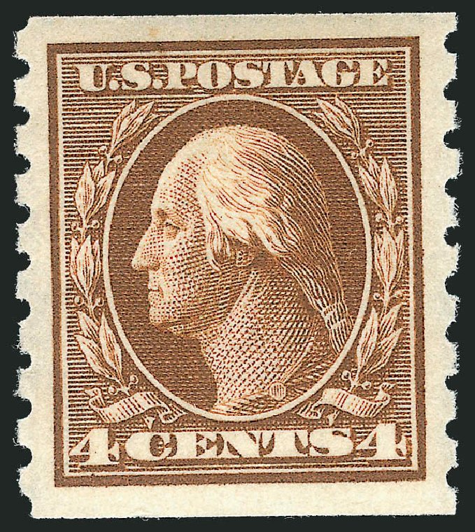 US Stamp Value Scott Cat. 395: 4c 1912 Washington Coil. Robert Siegel Auction Galleries, Feb 2015, Sale 1092, Lot 1299