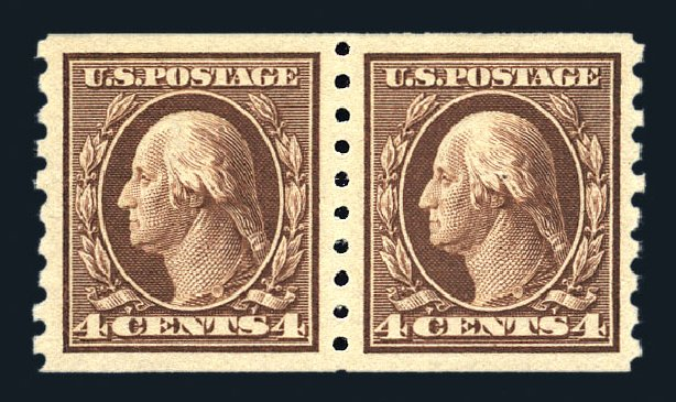 Cost of US Stamp Scott Cat. #395 - 1912 4c Washington Coil. Harmer-Schau Auction Galleries, Aug 2015, Sale 106, Lot 1790