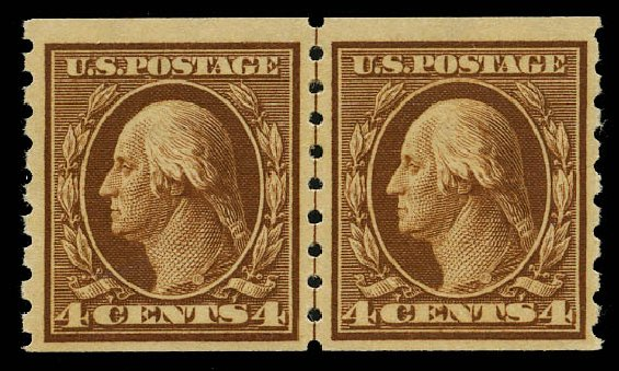 Costs of US Stamps Scott Catalog #395 - 1912 4c Washington Coil. Daniel Kelleher Auctions, May 2015, Sale 669, Lot 2961