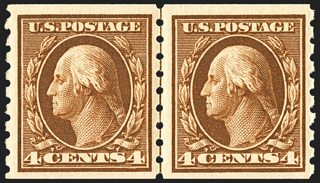 US Stamp Price Scott Catalogue # 395: 1912 4c Washington Coil. Robert Siegel Auction Galleries, Jul 2015, Sale 1107, Lot 451