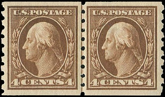 Cost of US Stamp Scott #395: 1912 4c Washington Coil. Regency-Superior, Aug 2015, Sale 112, Lot 794