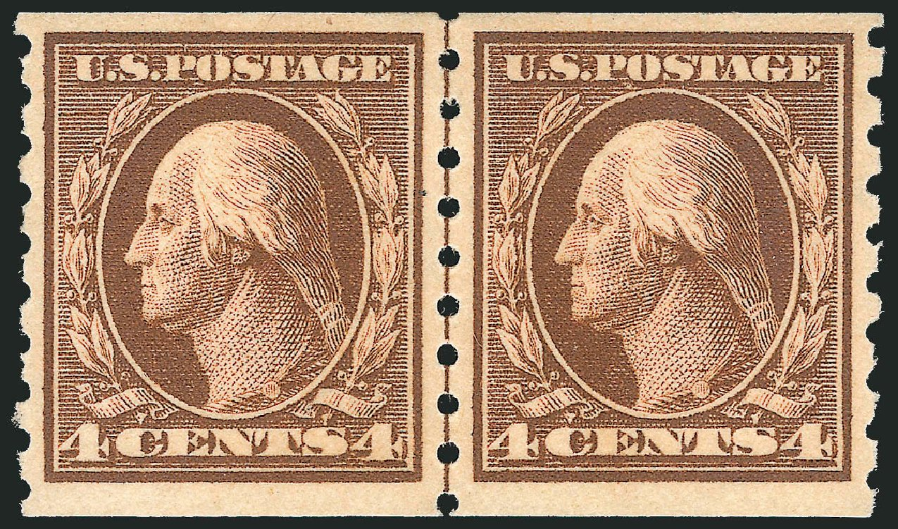US Stamps Price Scott Cat. # 395 - 1912 4c Washington Coil. Robert Siegel Auction Galleries, Feb 2015, Sale 1093, Lot 225