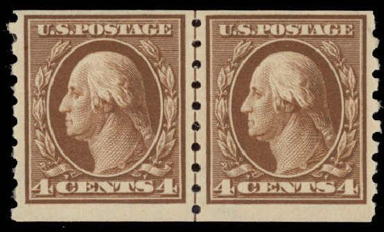 Cost of US Stamp Scott Catalogue # 395: 1912 4c Washington Coil. Daniel Kelleher Auctions, May 2015, Sale 669, Lot 2962