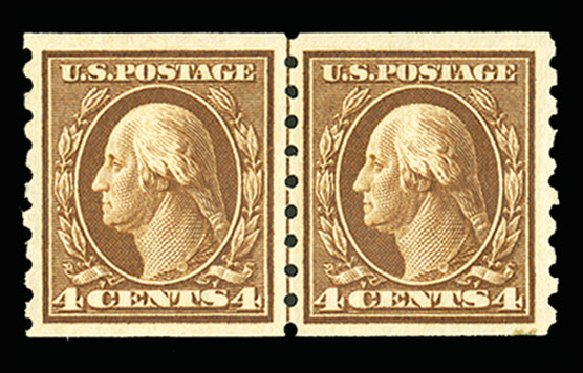 US Stamp Value Scott Cat. # 395: 1912 4c Washington Coil. Cherrystone Auctions, Jul 2015, Sale 201507, Lot 2143
