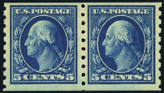 US Stamps Value Scott Catalog # 396 - 1913 5c Washington Coil. Harmer-Schau Auction Galleries, May 2015, Sale 105, Lot 168