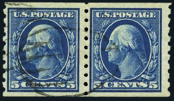 Value of US Stamps Scott Catalog 396 - 1913 5c Washington Coil. Harmer-Schau Auction Galleries, May 2015, Sale 105, Lot 169