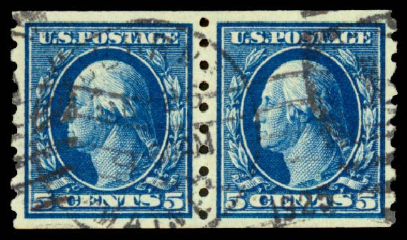 US Stamp Price Scott #396 - 5c 1913 Washington Coil. Daniel Kelleher Auctions, Aug 2015, Sale 672, Lot 2701