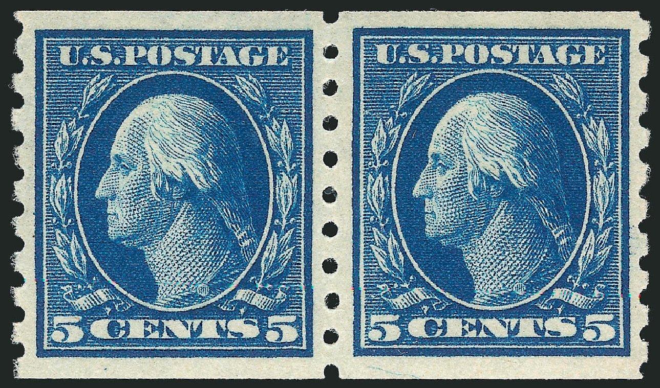 US Stamps Prices Scott #396 - 5c 1913 Washington Coil. Robert Siegel Auction Galleries, Apr 2015, Sale 1096, Lot 641