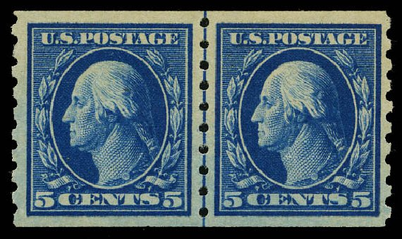 US Stamp Price Scott 396: 5c 1913 Washington Coil. Daniel Kelleher Auctions, May 2015, Sale 669, Lot 2964