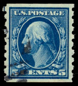 Prices of US Stamp Scott Catalog #396: 5c 1913 Washington Coil. Daniel Kelleher Auctions, May 2015, Sale 669, Lot 2965