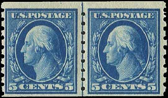 US Stamps Price Scott # 396: 5c 1913 Washington Coil. Regency-Superior, Aug 2015, Sale 112, Lot 795