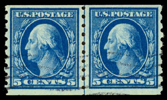 US Stamp Value Scott Catalog 396: 1913 5c Washington Coil. Daniel Kelleher Auctions, Aug 2015, Sale 672, Lot 2702