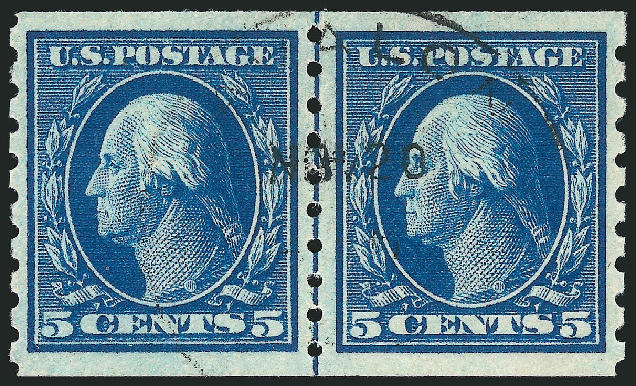 Value of US Stamps Scott Catalog #396: 5c 1913 Washington Coil. Robert Siegel Auction Galleries, Apr 2015, Sale 1096, Lot 642