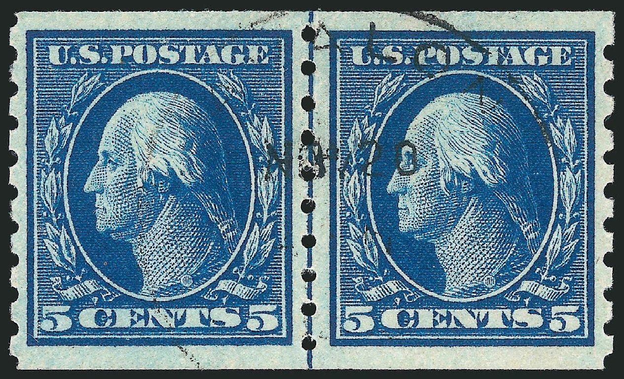 Value of US Stamps Scott Catalog #396: 5c 1913 Washington Coil. Robert Siegel Auction Galleries, Apr 2015, Sale 1096, Lot 642
