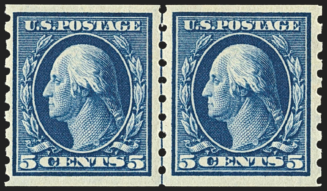 US Stamp Value Scott Catalog #396 - 1913 5c Washington Coil. Robert Siegel Auction Galleries, Jul 2015, Sale 1107, Lot 452