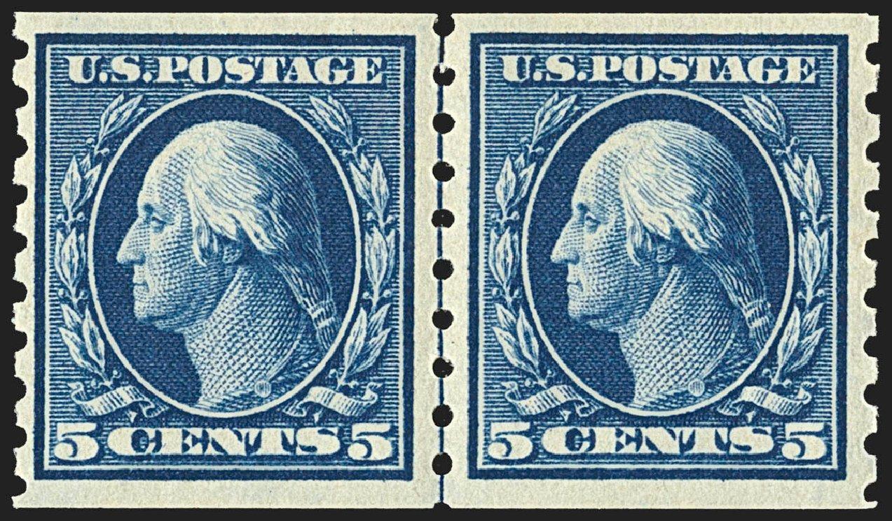 US Stamp Value Scott Catalog #396 - 1913 5c Washington Coil. Robert Siegel Auction Galleries, Jul 2015, Sale 1107, Lot 452