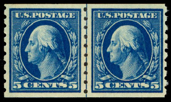 US Stamps Values Scott Catalog 396: 5c 1913 Washington Coil. Daniel Kelleher Auctions, May 2015, Sale 669, Lot 2963