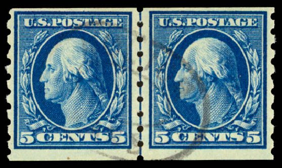 Cost of US Stamps Scott Cat. #396 - 5c 1913 Washington Coil. Daniel Kelleher Auctions, Aug 2015, Sale 672, Lot 2703