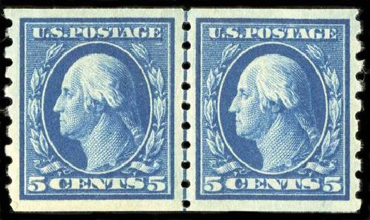 US Stamp Values Scott Catalogue # 396: 1913 5c Washington Coil. Spink Shreves Galleries, Jul 2015, Sale 151, Lot 283