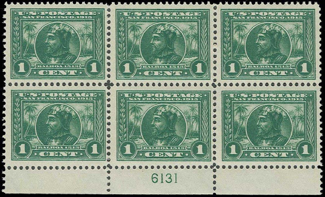 US Stamp Value Scott Cat. #397 - 1913 1c Panama-Pacific Exposition. H.R. Harmer, Jun 2013, Sale 3003, Lot 1280