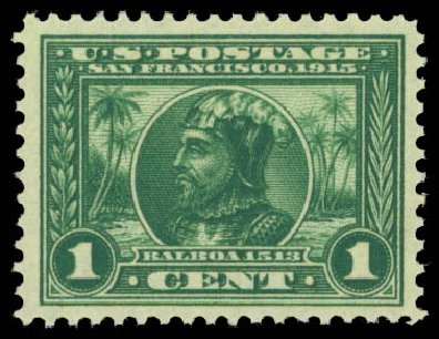 US Stamp Value Scott Catalog #397 - 1913 1c Panama-Pacific Exposition. Daniel Kelleher Auctions, Dec 2014, Sale 661, Lot 325
