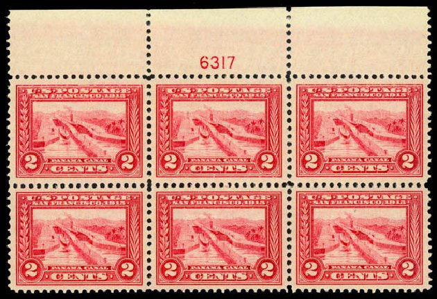Value of US Stamp Scott Catalogue #398 - 1913 2c Panama-Pacific Exposition. Daniel Kelleher Auctions, May 2014, Sale 653, Lot 2419
