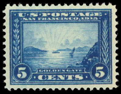 Costs of US Stamps Scott Catalogue #399 - 5c 1913 Panama-Pacific Exposition. Daniel Kelleher Auctions, May 2015, Sale 669, Lot 2969