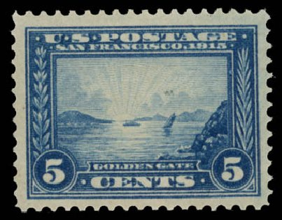 US Stamp Value Scott Catalogue 399 - 1913 5c Panama-Pacific Exposition. Daniel Kelleher Auctions, May 2015, Sale 669, Lot 2970