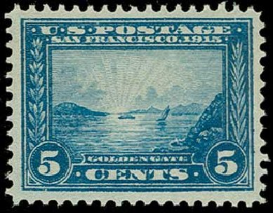Cost of US Stamps Scott Catalog #399 - 1913 5c Panama-Pacific Exposition. H.R. Harmer, Jun 2015, Sale 3007, Lot 3324