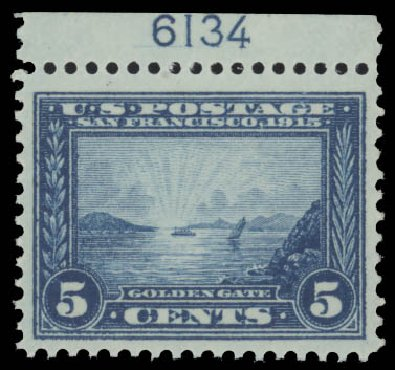 US Stamps Value Scott Catalogue #399: 1913 5c Panama-Pacific Exposition. Daniel Kelleher Auctions, Aug 2015, Sale 672, Lot 2705
