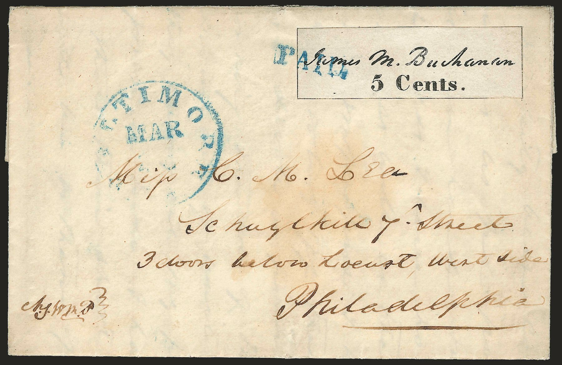 Prices of US Stamps Scott 3X1 - 5c 1845 Baltimore Postmasters Provisional. Robert Siegel Auction Galleries, Apr 2009, Sale 972, Lot 3001