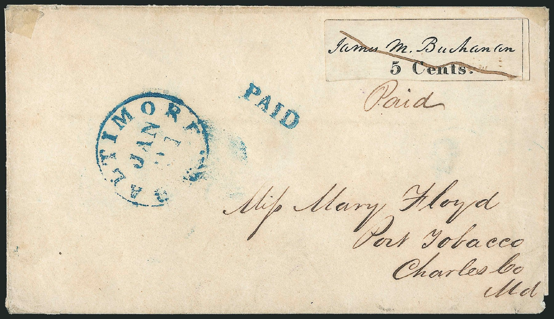Price of US Stamp Scott Catalog #3X1: 1845 5c Baltimore Postmasters Provisional. Robert Siegel Auction Galleries, Jun 2011, Sale 1010, Lot 3