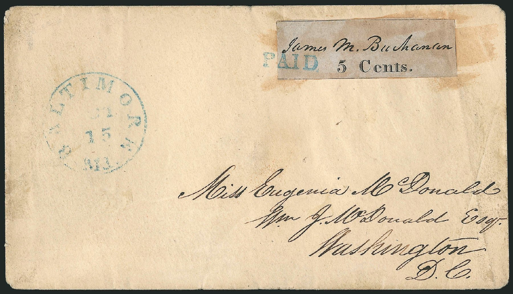 US Stamps Prices Scott # 3X3: 5c 1845 Baltimore Postmasters Provisional. Robert Siegel Auction Galleries, Jun 2012, Sale 1025, Lot 14