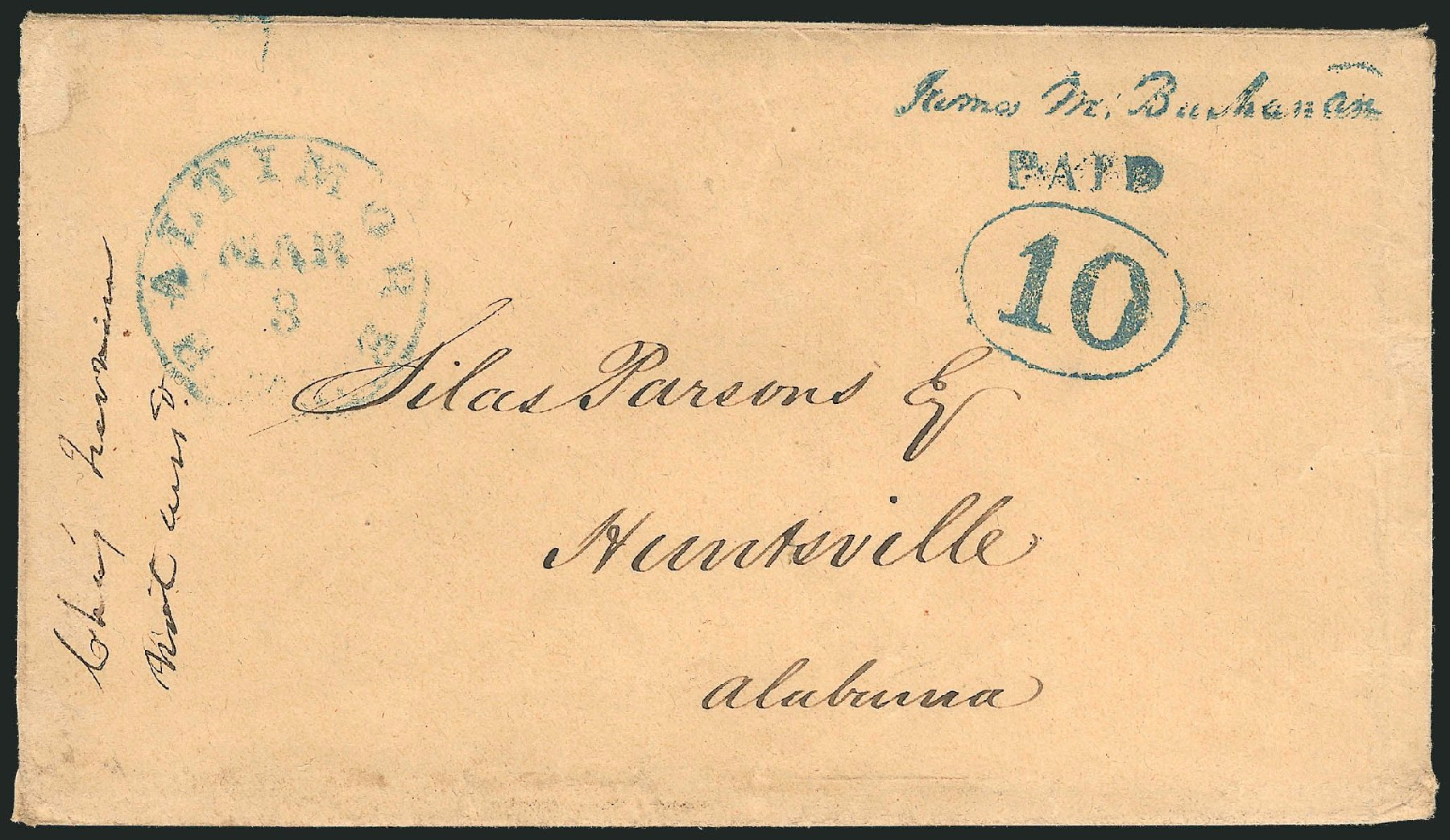 US Stamp Value Scott # 3XU3: 10c 1845 Baltimore Postmasters Provisional. Robert Siegel Auction Galleries, Jun 2012, Sale 1025, Lot 17