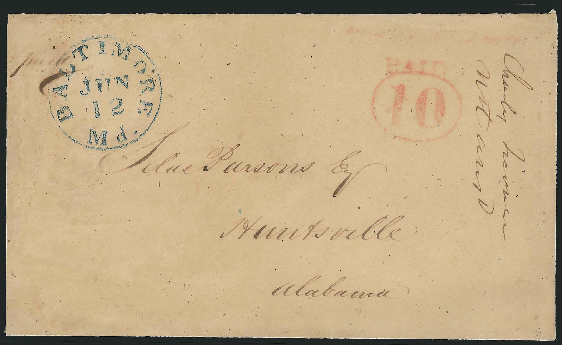 Value of US Stamp Scott Catalog # 3XU4 - 1845 10c Baltimore Postmasters Provisional. Robert Siegel Auction Galleries, Oct 2008, Sale 963, Lot 4